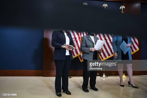 Representative Liz Cheney, a Republican from Wyoming, from left, Representative Virginia Foxx, a Republican from North Carolina, and Representative...
