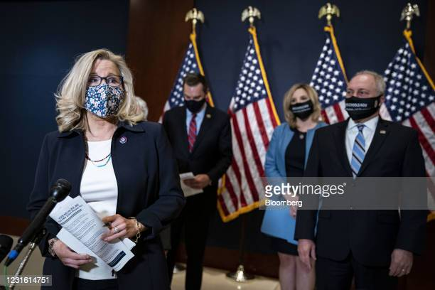 Representative Liz Cheney, a Republican from Wyoming, left, speaks during a news conference following a House Republicans meeting at the U.S. Capitol...