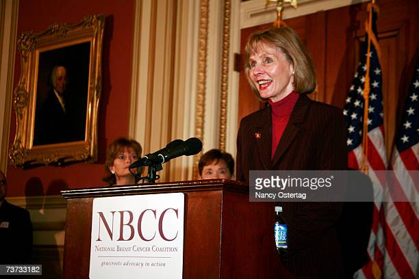 Representative Lois Capps speaks at the National Breast Cancer Coalition press conference at The Capitol on March 28 2007 in Washington DC