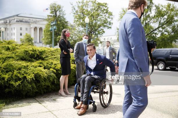 Representative Madison Cawthorn, a Republican from North Carolina, arrives to a news conference outside the U.S. Capitol in Washington, D.C., U.S.,...