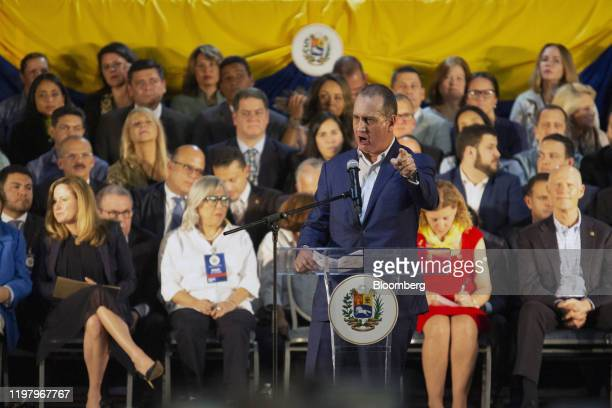 Representative Mario DiazBalart a Republican from Florida speaks during a rally with Juan Guaido president of the National Assembly who swore himself...