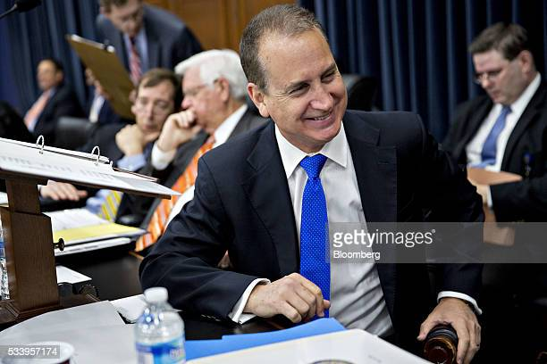 Representative Mario DiazBalart a Republican from Florida speaks with Rodney Frelinghuysen a Republican from New Jersey not pictured before the start...