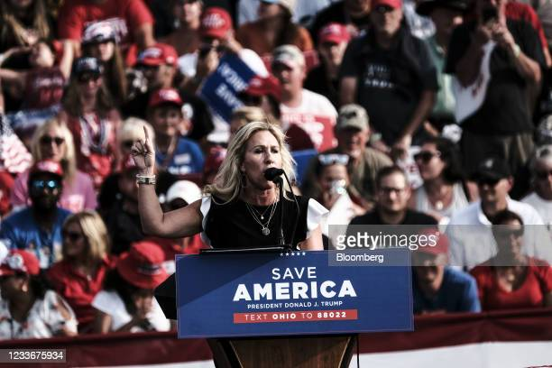 Representative Marjorie Taylor Greene, a Republican from Georgia, speaks during a 'Save America' Rally at the Lorain County Fairgrounds in...