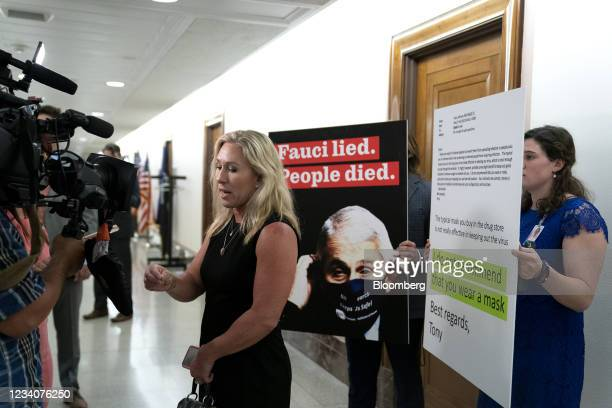 Representative Marjorie Taylor Greene, a Republican from Georgia, speaks to members of the media following a Senate Health, Education, Labor, and...