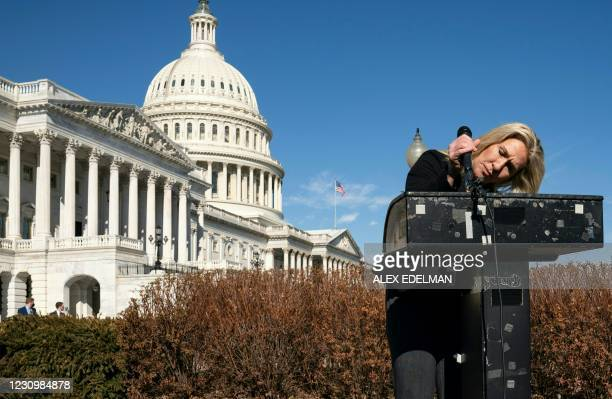 Representative Marjorie Taylor Greene, Republican of Georgia, arrives to speak at a press conference on Capitol Hill on February 5, 2021 in...