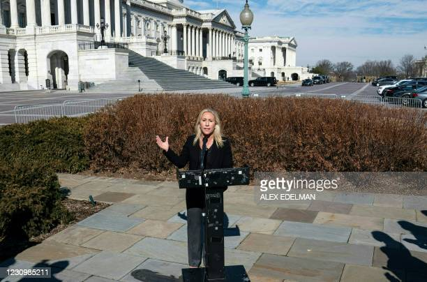 Representative Marjorie Taylor Greene, Republican of Georgia, speaks during a press conference on Capitol Hill on February 5, 2021 in Washington, DC....