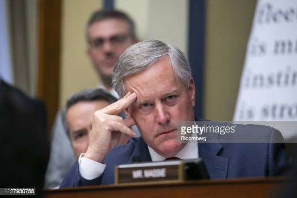 Representative Mark Meadows a Republican from North Carolina listens as comments made by Representative Rashida Tlaib a Democrat from Michigan not...