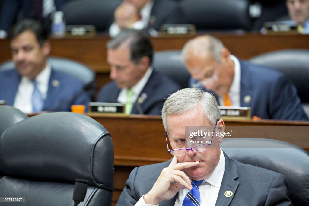 Representative Mark Meadows, a Republican from North Carolina, listens listens during a joint House Judiciary, Oversight and Government Reform Committees hearing with Federal Bureau of Investigation (FBI) agent Peter Strzok, not pictured, in Washington, D.C., U.S., on Thursday, July 12, 2018. Strzok, the FBI agent who exchanged anti-Trump texts with a bureau lawyer, denied he did anything improper, as he faced a hearing called by Republican lawmakers who say he personifies bias that tainted the agency's Russia investigation early on. Photographer: Andrew Harrer/Bloomberg via Getty Images