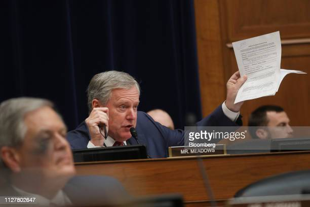 Representative Mark Meadows, a Republican from North Carolina, speaks during a House Oversight Committee hearing with Michael Cohen, former personal...