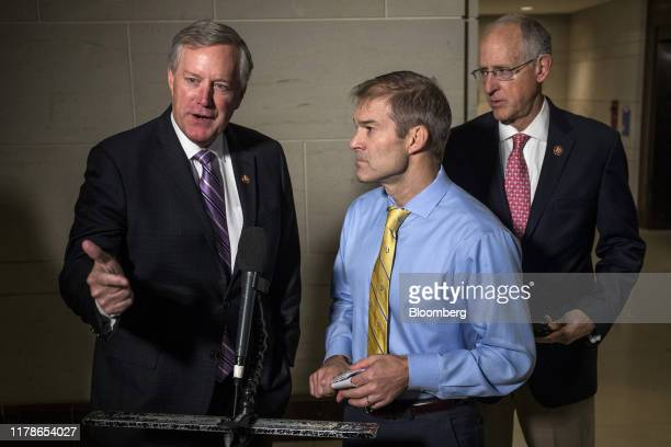 Representative Mark Meadows a Republican from North Carolina speaks to members of the media before a meeting with the House Intelligence Committee on...