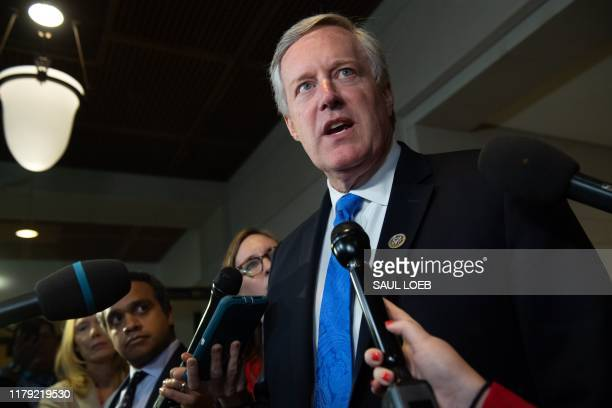 US Representative Mark Meadows Republican of North Carolina speaks outside the secure facility where depositions relating to the House impeachment...