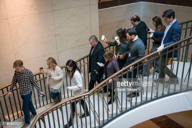 S Representative Mark Meadows speaks to reporters as he arrives to the Capitol for a closed door deposition with Mark Sandy a senior career official...