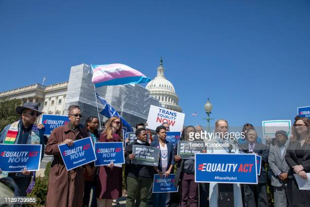 Representative Mary Gay Scanion speaks on introduction of the Equality Act a comprehensive LGBTQ nondiscrimination bill at the US Capitol on April 01...