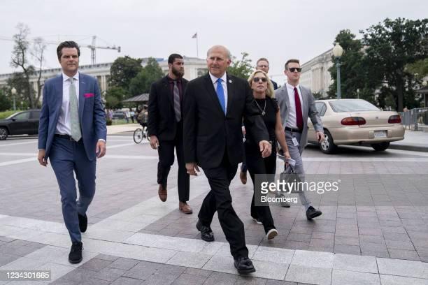 Representative Matt Gaetz, a Republican from Florida, from left, Representative Louie Gohmert, a Republican from Texas, and Representative Marjorie...