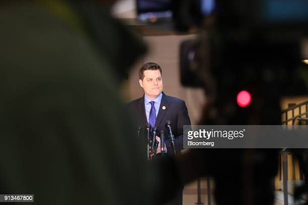 Representative Matt Gaetz a Republican from Florida pauses while speaking to members of the media at the US Capitol in Washington DC US on Friday Feb...