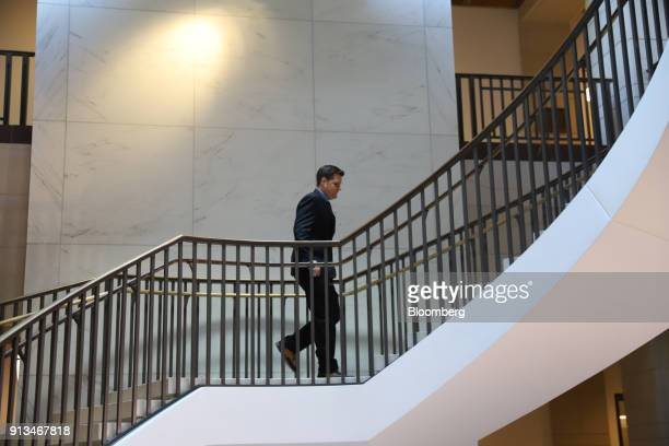 Representative Matt Gaetz a Republican from Florida walks up a staircase after speaking to members of the media at the US Capitol in Washington DC US...