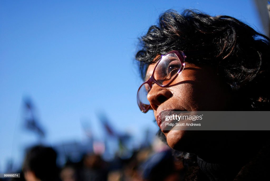 Representative Maxine Waters, D-Ca, speaks to protesters at the United for Peace rally on Saturday.