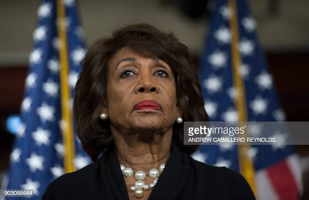 US Representative Maxine Waters looks on before speaking to reports regarding the Russia investigation on Capitol Hill in Washington DC on January 9...