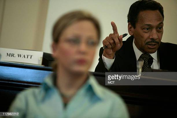 US Representative Mel Watt right at a House Committee on Veteran's Affairs subcommittee hearing on Oversight Investigations April 19 in Washington DC