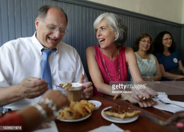 S Representative Michael Capuano left campaigns at Petsi Pies in Cambridge MA along with US Representative Katherine Clark right on Aug 30 2018 They...