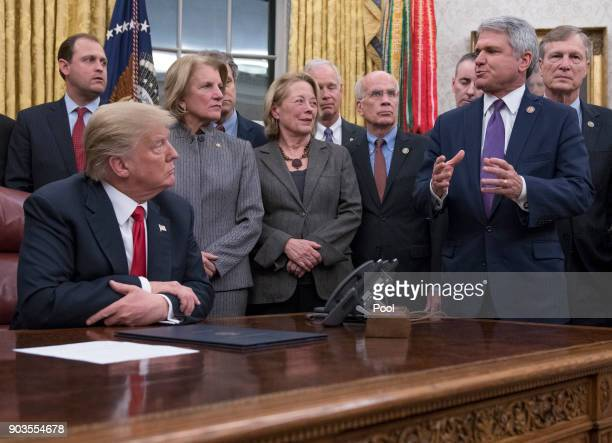 S Representative Michael McCaul makes remarks in the Oval Office prior to President Donald Trump signing the bipartisan Interdict Act a bill to stop...