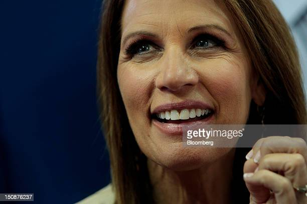 Representative Michele Bachmann a Republican from Minnesota smiles at the Republican National Convention in Tampa Florida US on Tuesday Aug 28 2012...