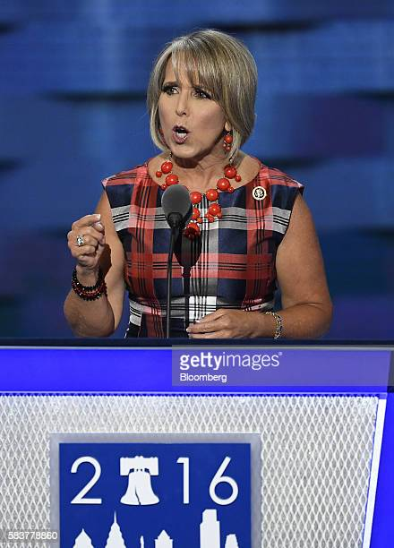 Representative Michelle Lujan Grisham a Democrat from New Mexico speaks during the Democratic National Convention in Philadelphia Pennsylvania US on...