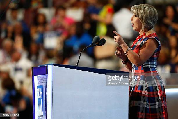 S Representative Michelle Lujan Grisham delivers remarks on the third day of the Democratic National Convention at the Wells Fargo Center July 27...