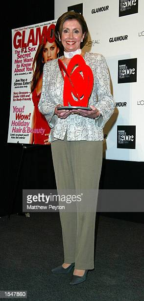 S Representative Nancy Pelosi poses at Glamour magazine's 13th annual Salute to the 2002 Women Of The Year at the Metropolitan Museum of Art October...
