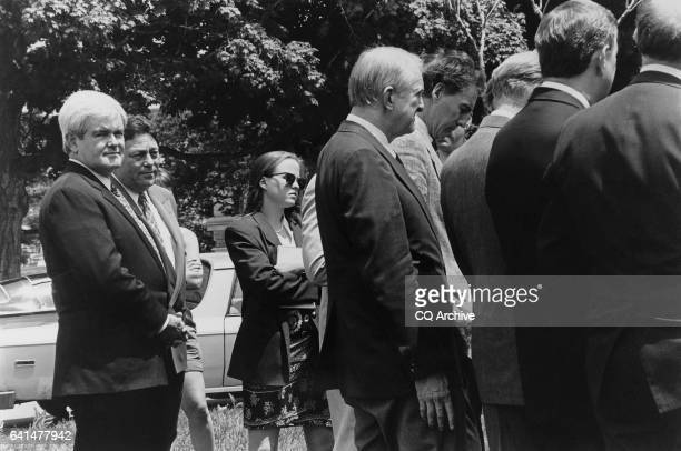Representative Newt Gingrich and Press Secretary Tony Blankley and other GOP representatives May 25 1994