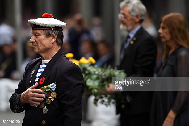 A representative of French Veterans NSW pays his respects after laying a wreath during the Remembrance Day service at the Cenotaph on November 11...