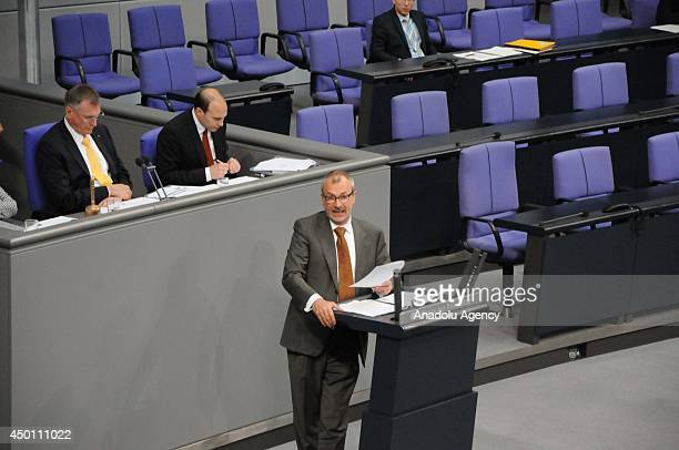 Representative of Grren party Volker Beck speaks during the meeting of dual citizenship right begins at the German Federal Assembly in Berlin Germany...