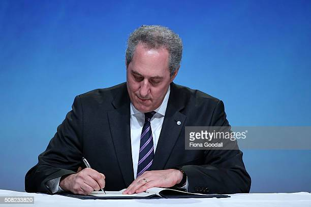 Representative of Industry and Trade Michael Froman signs the Trans Pacific Partnership at Sky City on February 4 2016 in Auckland New Zealand The...