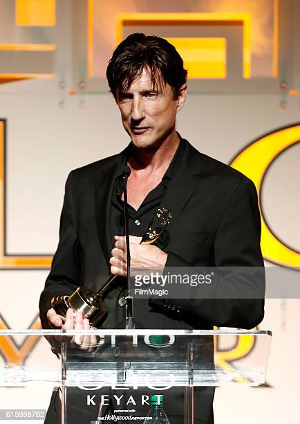A representative of Mob Scene agency accepts the Grand in Theatrical Teaser award for 'The Accountant' onstage during the CLIO Key Art Awards 2016 at...