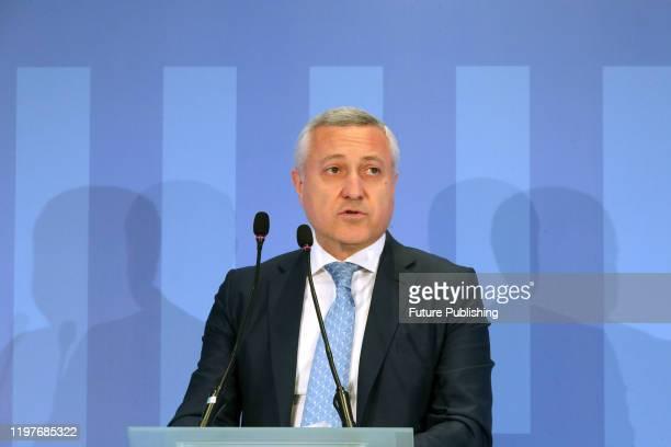 KYIV UKRAINE JANUARY 31 2020 Representative of Risoil Kherson LLC David Bezhuashvili attends the presentation of the winners of first concession...