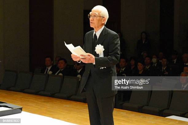 A representative of the family members addresses during the memorial ceremony of the Kumamoto Earthquakes second anniversary on April 15 2018 in...