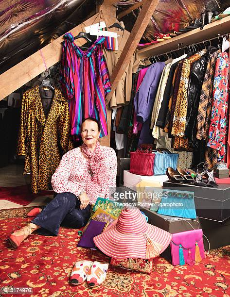 Representative of the Foundation Pierre Bergé Yves Saint Laurent Dominique Deroche is photographed for Madame Figaro on July 8 2016 in her closet in...