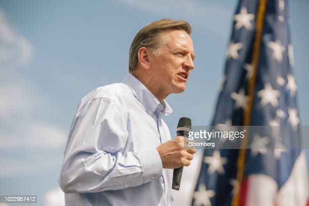 Representative Paul Gosar a Republican from Arizona speaks during a 'Road To Victory' bus tour stop with Kelli Ward Republican US Senate candidate...