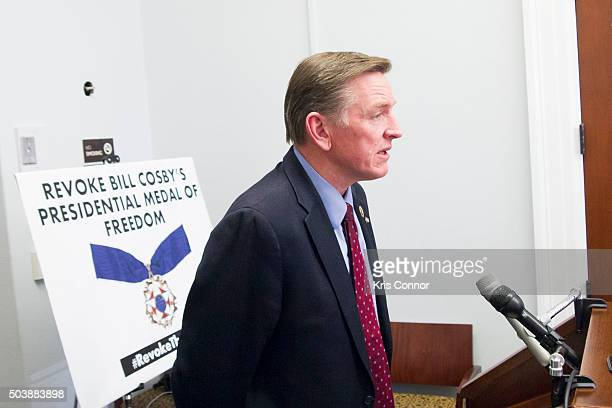 Representative Paul Gosar and Angela Rose Executive Director of Promoting Awareness Victims Empowerment speak during a news conference to discuss...