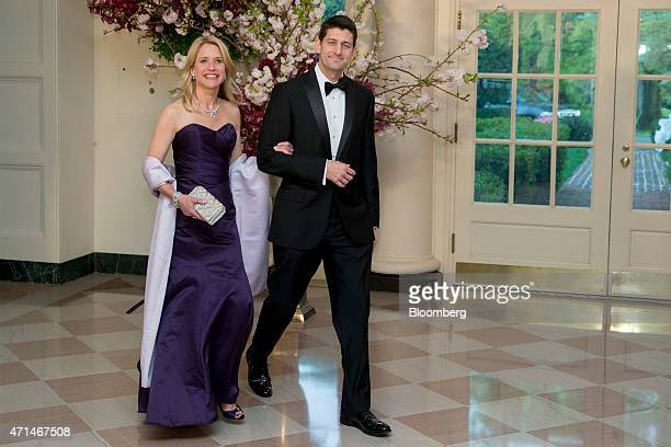 Representative Paul Ryan a Republican from Wisconsin right and Janna Ryan arrive at a state dinner hosted by US President Barack Obama and US First...
