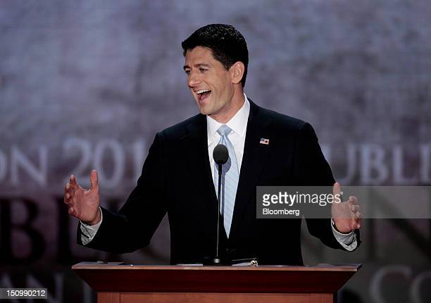 Representative Paul Ryan Republican vice presidential candidate speaks at the Republican National Convention in Tampa Florida US on Wednesday Aug 29...
