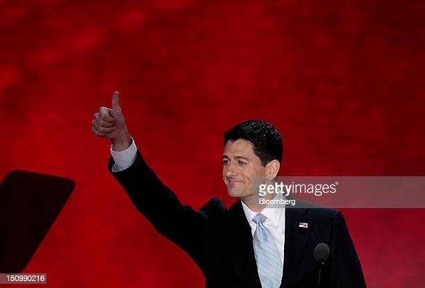 Representative Paul Ryan Republican vice presidential candidate gestures before speaking at the Republican National Convention in Tampa Florida US on...