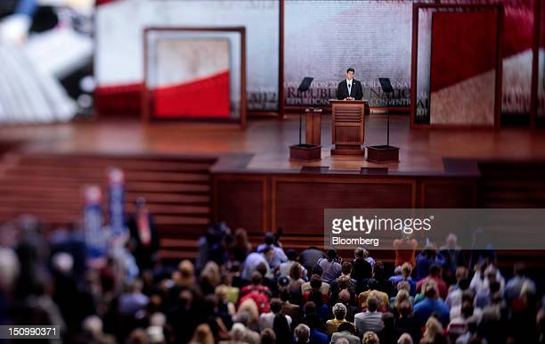 Representative Paul Ryan, Republican vice presidential candidate, speaks in this photo taken with a tilt shift lens at the Republican National...
