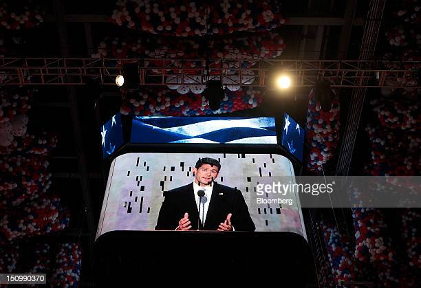 Representative Paul Ryan, Republican vice presidential candidate, is seen on a screen while speaking at the Republican National Convention in Tampa,...