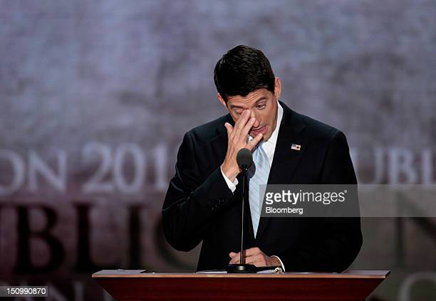 Representative Paul Ryan, Republican vice presidential candidate, tears up while speaking at the Republican National Convention in Tampa, Florida,...