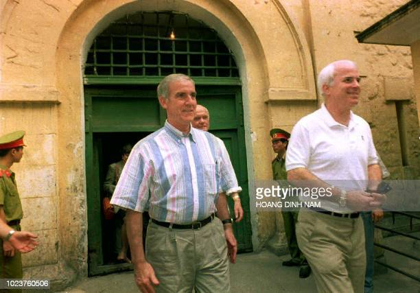 US Representative Pete Peterson and US Senators John McCain and John Glenn leave Hanoi's central prison 01 June Once nicknamed the Hanoi Hilton it is...
