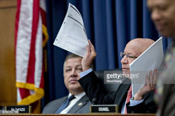 Representative Peter DeFazio a Democrat from Oregon and ranking member of the House Transportation and Infrastructure Committee holds up airline...