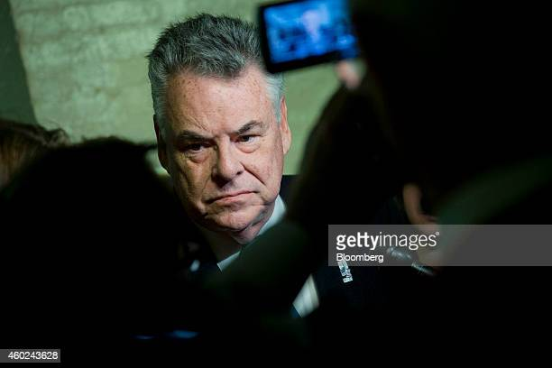 Representative Peter King a Republican from New York speaks to reporters after a House Republican Conference meeting at the US Capitol Building in...
