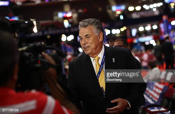 Representative Peter King a Republican from New York speaks to members of the media on the floor before the start of the Republican National...