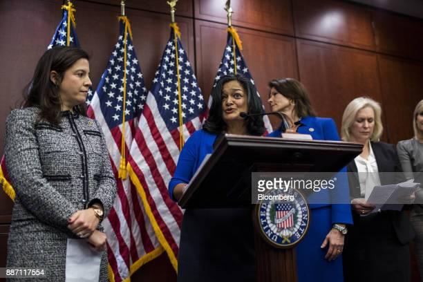 Representative Pramila Jayapal, a Democrat from Washington, center, speaks during a news conference unveiling bipartisan legislation to prevent...